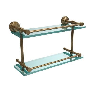 Waverly Place 16 in. W Double Glass Shelf with Gallery Rail in Brushed Bronze