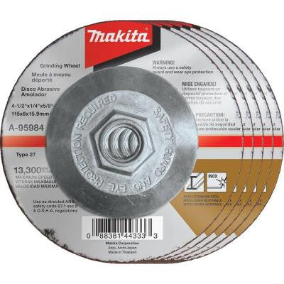 4-1/2 in. x 1/4 in. x 5/8 in. 36-Grit INOX Grinding Wheel (5-Pack)