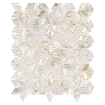 Mermaid Scales 9-1/2 in. x 10-7/8 in. x 2.5 mm Shell Mosaic Wall Tile