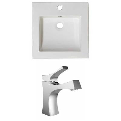 16.5 in. W x 16.5 in. D Ceramic Vanity Top Set with Basin in White with Single Hole cUPC Faucet