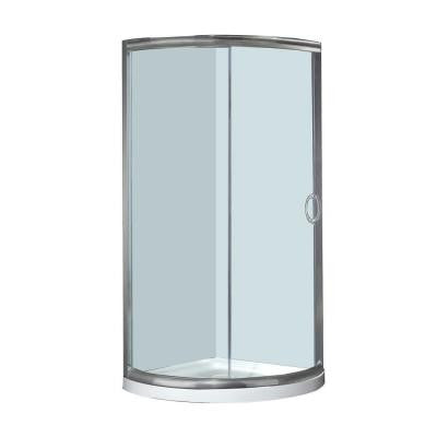 SD908 36 in. x 36 in. x 77-1/2 in. Semi-Frameless Round Shower Enclosure in Stainless Steel with Base