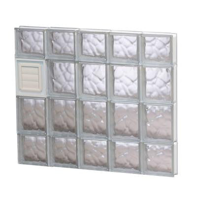 28.75 in. x 27 in. x 3.125 in. Wave Pattern Glass Block Window with Dryer Vent