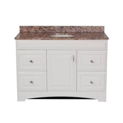 Providence 48 in. Vanity in White with Stone Effects Vanity Top in Santa Cecilia