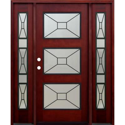 36 in. x 80 in. 3 Lite Mistlite Stained Mahogany Wood Prehung Front Door w/ Grille, 14 in. Sidelites & 6 in. Wall Series