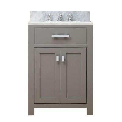 24 in. W x 21 in. D x 34 in. H Vanity in Cashmere Grey with Marble Vanity Top in Carrara White