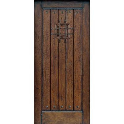 36 in. x 80 in. Rustic Mahogany Type Prefinished Distressed V-Groove Solid Wood Speakeasy Front Door Slab