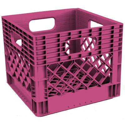 11 in. H x 13 in. W x 13 in. D Plastic Storage Milk Crate in Fushia