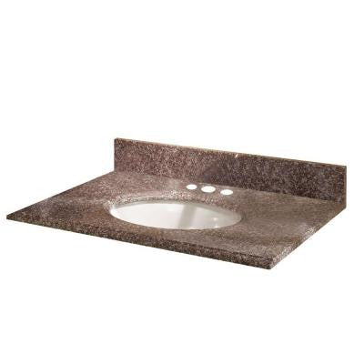 49 in. W Granite Vanity Top in Montero with White Bowl and 8 in. Faucet Spread