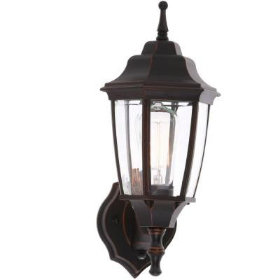1-Light Oil Rubbed Bronze Outdoor Dusk-to-Dawn Wall Lantern