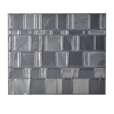 11.55 in. x 9.64 in. Peel and Stick Mosaic Decorative Tile Backsplash Tango Onyx in Grey (Box of 6 Tiles)