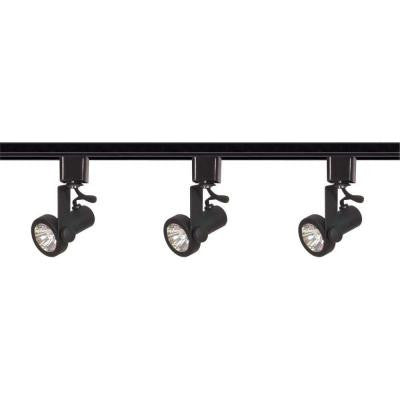 3 ft. 3-Light Black Track Lighting Kit with Directional Heads