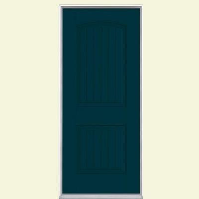36 in. x 80 in. Cheyenne 2-Panel Painted Smooth Fiberglass Prehung Front Door with No Brickmold