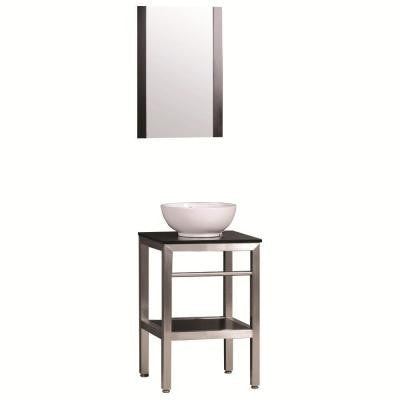 Uzzano 19 in. Vanity in Stainless Steel with Solid Wood Vanity Top in Espresso and Mirror