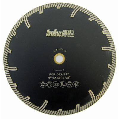 9 in. Turbo Rim Diamond Blade with Protect Teeth for Stone Cutting