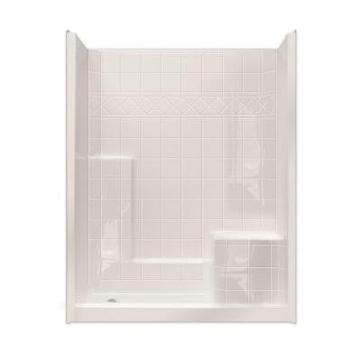 Standard 32 in. x 60 in. x 77 in. Walk-In Shower System in Biscuit with Low Threshold and Right Seat