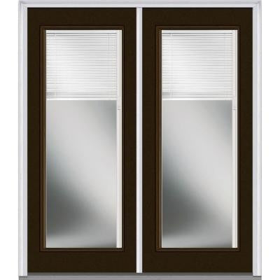 60 in. x 80 in. Classic Clear Glass RLB Full Lite Painted Builder's Choice Steel Double Prehung Front Door