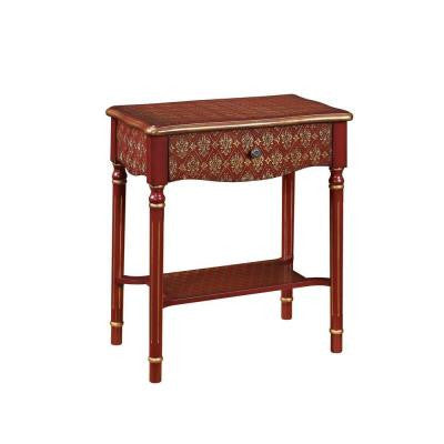 2 ft. Single Drawer Red and Gold Accent Table