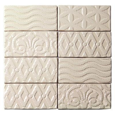 Catalina Deco Vanilla 3 in. x 6 in. x 8 mm Ceramic Floor and Wall Subway Tile (8 Tiles Per Unit)