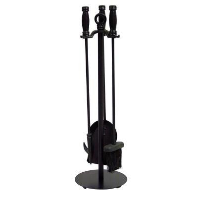 Black Wrought Iron 4-Piece Fireplace Tool Set