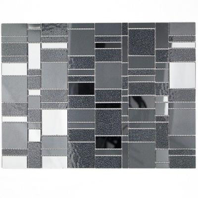 Specchio Titanium 10.62 in. x 14.12 in. x 4 mm Polished Glass Mirror Mosaic Tile