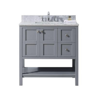 Winterfell 36 in. W x 22 in. D x 36.4 in. H Vanity in Grey with Marble Vanity Top in White with Round Basin