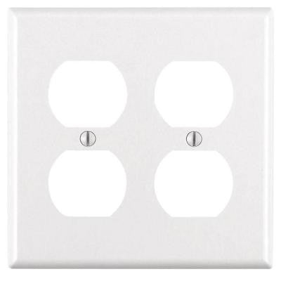 2-Gang Jumbo Duplex Outlet Wall Plate - White