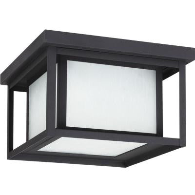 Hunnington 2-Light Outdoor Black Fluorescent Flushmount with Seeded Etched Glass