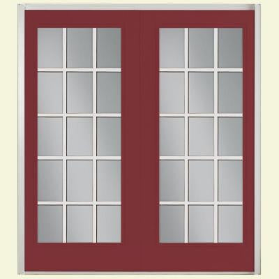 72 in. x 80 in. Red Bluff Prehung Right-Hand Inswing 15 Lite Fiberglass Patio Door with No Brickmold in Vinyl Frame