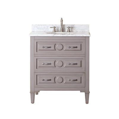 Kelly 30 in. Vanity in Grayish Blue with Marble Vanity Top in Carrara White
