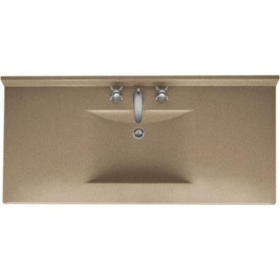Contour 49 in. W x 22 in. D x 10-1/4 in. H Solid-Surface Vanity Top in Barley with Barley Basin