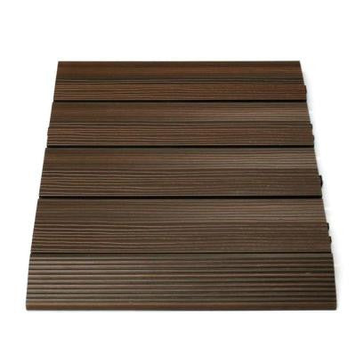 Quick Deck 2 in. x 1 ft Composite Deck Tile Straight Trim in Spanish Walnut (4-Pieces/box)