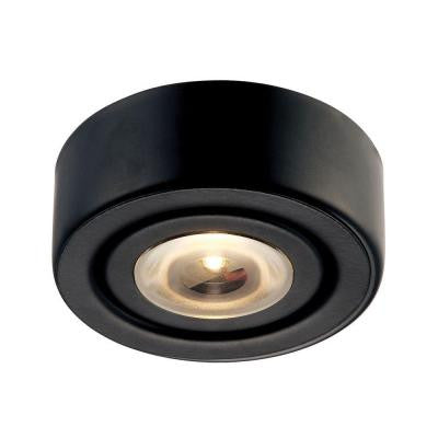 Eco 1-Lamp LED Black Puck Light with Clear Glass