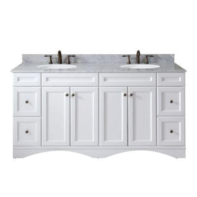 Talisa 71.7 in. W x 22 in. D x 36 in. H Vanity in White with Marble Vanity Top in White and Round Basin