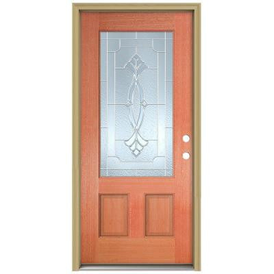36 in. x 80 in. Champagne 3/4 Lite Unfinished Mahogany Wood Prehung Front Door with Brickmould and Zinc Caming