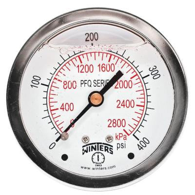 PFQ Series 2.5 in. Stainless Steel Liquid Filled Case Pressure Gauge with 1/4 in. NPT CBM and Range of 0-400 psi/kPa