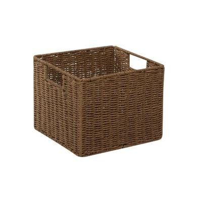 12.2 in. x 13 in. x 10 in. Parchment Cord Crate in Brown