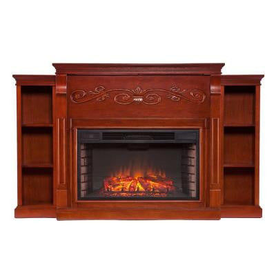 Irving 70.25 in. Freestanding Bookcase Electric Fireplace in Classic Mahogany