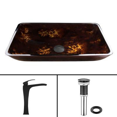Glass Vessel Sink in Brown and Gold Fusion and Blackstonian Faucet Set in Matte Black