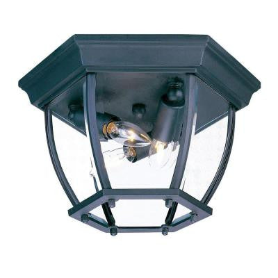 Flushmount Collection Ceiling-Mount 3-Light Outdoor Matte Black Light Fixture