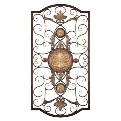 42 in. x 22 in. Antiqued Gold Iron Wall Art