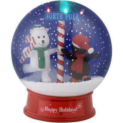 12 in. Animated Snow Globe-Polar Bear and Penguin