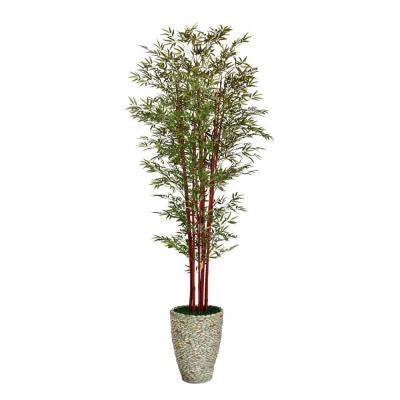106 in. Tall Harvest Bamboo Tree in 16 in. Fiberstone Planter
