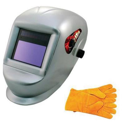 Deluxe Solar Auto Darkening Welding Helmet with Large Viewing Area and Pair of Leather Gloves