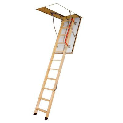 47 in. x 25 in. x 8 ft. 11 in. Fire Rated Wood Attic Ladder with 300 lb. Load Capacity Type IA Duty Rating