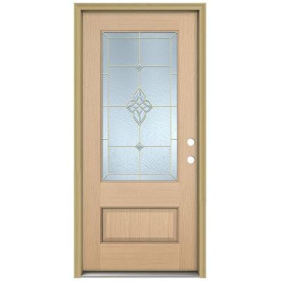 36 in. x 96 in. Rosemont 3/4 Lite Unfinished Hemlock Wood Prehung Front Door with Brickmould and Brass Caming