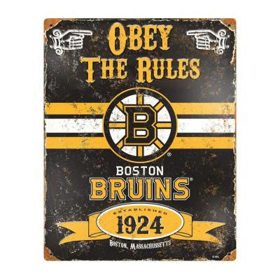 14.5 in. H x 11.5 in. D Heavy Duty Steel Boston Bruins Embossed Metal Sign Wall Art