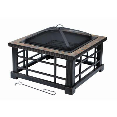 Woodspire 30 in. Square Slate Steel Fire Pit