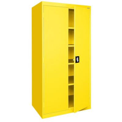 Elite Series 78 in. H x 36 in. W x 18 in. D 5-Shelf Steel Recessed Handle Storage Cabinet in Yellow