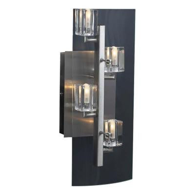 4-Light Satin Nickel Sconce with Clear Glass