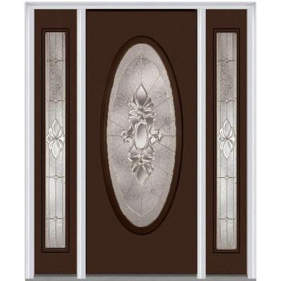 64 in. x 80 in. Heirloom Master Decorative Glass Full Oval Lite Painted Majestic Steel Prehung Front Door with Sidelites